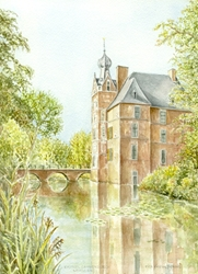 Aquarel van kasteel Cannenburch